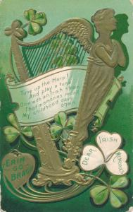 St Patrick's Day Greetings Tune up the Celtic Harp Erin Go Bragh - pm 1909 - DB