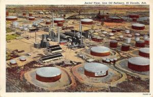 C66/ El Dorado Arkansas AR Postcard c30s Lion Oil Refinery Tanks
