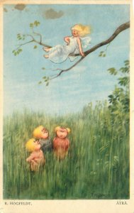 Signed Artist Postcard R. Hogfeldt Atra Children Look at Fairy in Tree Sweden