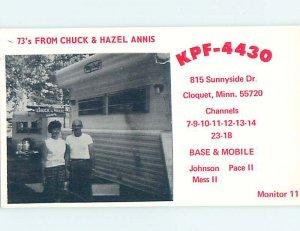 Pre-1980 RADIO CARD - CB HAM OR QSL Cloquet - Near Duluth Minnesota MN AH1327