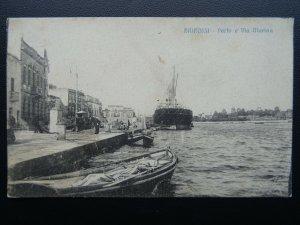 Italy BRINDISI Ships in Harbour - Porto e Via Marina - Old Postcard