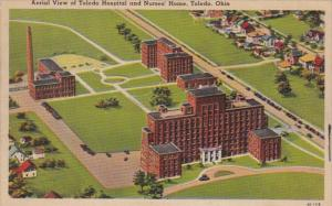 Ohio Toledo Aerial View Of Toledo Hospital and Nurses' Home