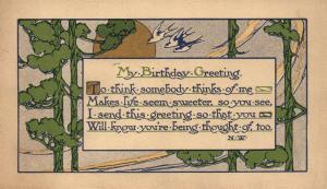 BIRTHDAY GREETINGS ARTISTIC ANTIQUE POSTCARD