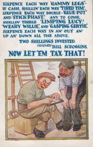 Tax Taxes Sixpence Coin Scrooge Two Shilling Foreman Work Antique Comic Postcard