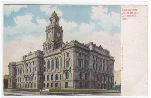 Court House Des Moines Iowa 1910c postcard