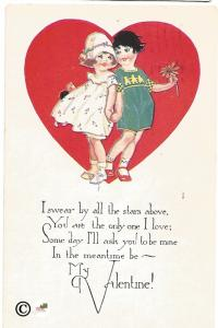 Little Boy and Girl Holding Hands in Red Heart Vintage Valentine's Day Postcard