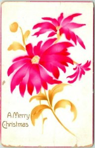 1910s MERRY CHRISTMAS Greetings Postcard Airbrushed Red Poinsettia Flowers