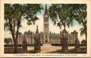 Confederation Buildings - Ottawa - Ontario - Vintage Postcard UNPOSTED Linen