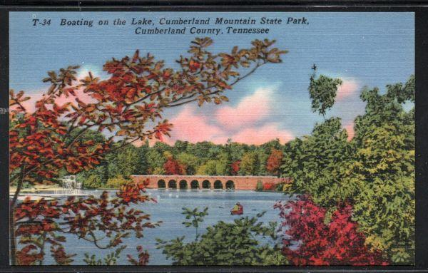 Tennessee colour PC Boating On Lake Cumberland Mountain Park unused