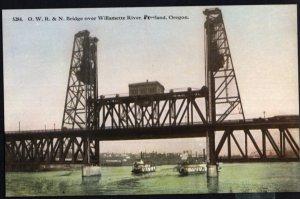 Oregon PORTLAND O.W.R.& N. Bridge over Willamette River - Divided Back