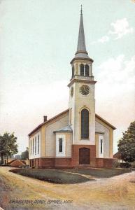 Pepperell Massachusetts~3:58 PM @ Congregational Church~1910 SHARP Postcard