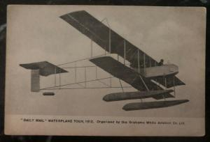 Mint Aviation Postcard RPPC Daily Mail Water plane Tour 1912 Grahame White