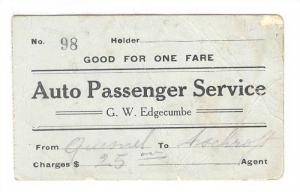 Ticket No. 98- Good For One Fare, Auto Passenger Service, G.W. Edgecumbe, Fro...