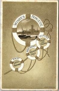 Nautical Life Rings Harbor Scene Embossed Vintage Greetings Postcard M11