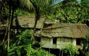malay malaysia, SARAWAK BORNEO, Native Dayak Longhouse (1970s) SR-7358