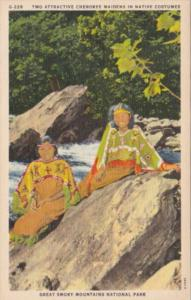 Two Attractive Indian Maidens In Native Costumes Smoky Mountains National Park