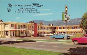Colorado Springs~TraveLodge Motel~Sleepwalking Bear Sign~1950s Cars~Postcard