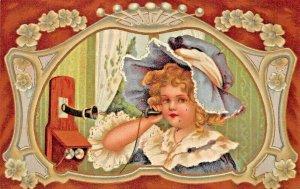 CUTE VICTORIAN GIRL TALKING ON WALL TELEPHONE 1907 TO FERTILE MINNESOTA POSTCARD