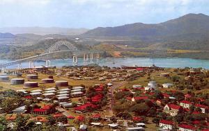 Panama Old Vintage Antique Post Card La Boca and Thatcher Ferry Bridge Balboa...