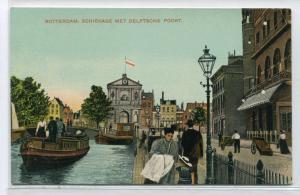 Schiekade met Delftsche Poort Canal Boat Rotterdam Netherlands 1910c postcard