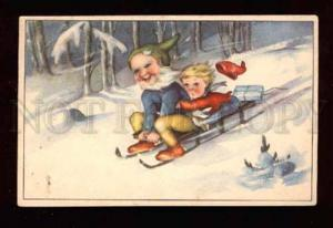 019268 Happy GNOMES on sledge. Old colorful PC