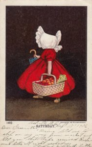 SATURDAY, PU-1906; Bonnet Girl carrying basket of vegetables & umbrella
