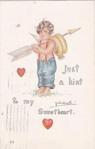 Valentine's Day Cupid With Arrow and Wedding Rings 1914 Signed Woodworth