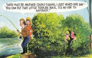 Fishing For A Ride Tiddler Fisherman Couple In Bush 1970s Comic Humour Postcard