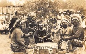 ITASCA STATE PARK, MINNESOTA INDIAN DRUMMERS RPPC REAL PHOTO POSTCARD