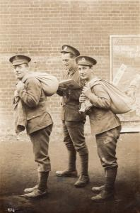 Soldiers WW1 As Army  Postman Antique Military Real Photo War Postcard