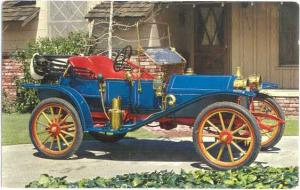1910 Hupmobile Runabout; Card printed with car service reminder on back Chrome