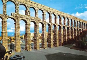 Spain Segovia The Aqueduct El Acueducto Vintage Car Auto