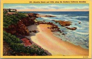 Postcard  Beautiful Beach & Cliffs along the Southern California Shoreline LINEN