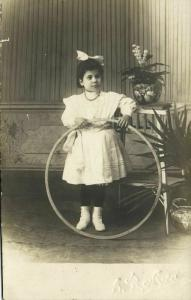 Young Spanish Girl in Dress with Hula Hoop Toy (1910s) RPPC Postcard
