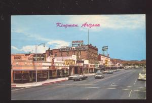 KINGMAN ARIZONA ROUTE 66 1961 THUNDERBIRD OLD CARS STREET SCENE POSTCARD