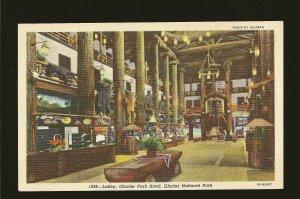 Lobby Glacier Park Hotel Glacier National Park Hileman Colortone Postcard