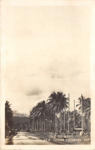 New Guinea~One of Many New Guinea Highways~Palm Trees Along Street~Real Photo PC