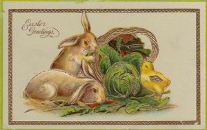EASTER, 1900-10s; Greetings, Rabbits eating carrots & Lettuce, Chick