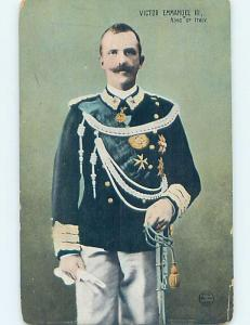 Old Postcard royalty KING VICTOR EMMANUEL III HOLDS SWORD Country Of Italy F5454