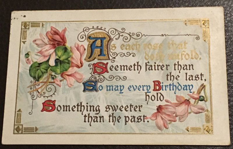 Vintage gilded and embossed Birthday Greeting postcard, 1910.