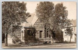 Wellington Kansas~Congregational Church~Big House Next Door~c1910 RPPC