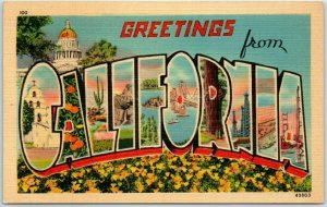 1940s GREETINGS FROM CALIFORNIA Large Letter Postcard State Capitol / Poppies