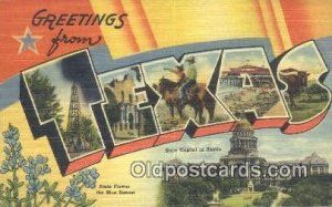 Texas USA Large Letter Town Unused