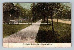 Escanaba MI-Michigan, Tweedy Street Looking East, Gents, Vintage c1910 Postcard