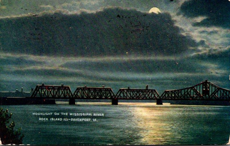 Iowa Davenport Bridge To Rock Island Moonlight On The Mississippi River 1909