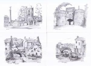 Skipton Canal Castle Boats Bridge 4x Artist Drawing Postcard s