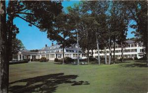 Absecon New Jersey~Seaview Country Club House~Picnic Tables under Trees~1950s Pc