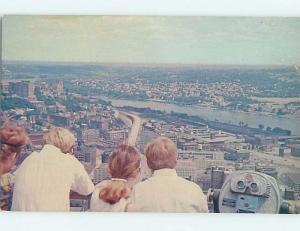 1960's postcard BINOCULARS MACHINE AT CAREW TOWER DECK Cincinnati OH F9347