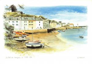 Brittany France Art Postcard, Le Port de Sauzon a Belle Ile by Loic Trehin T96