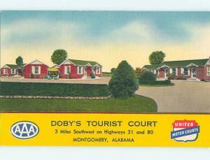 Unused Linen DOBY'S TOURIST COURT MOTEL Montgomery Alabama AL M6120